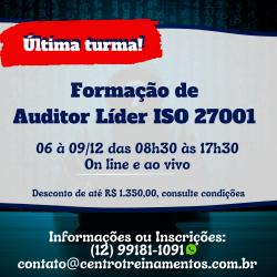 ÚLTIMA TURMA - Formação de Auditor Líder ISO 27001:2013